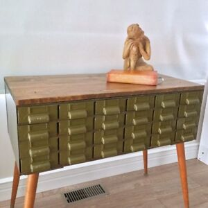 Vintage Industrial Storage Console Table