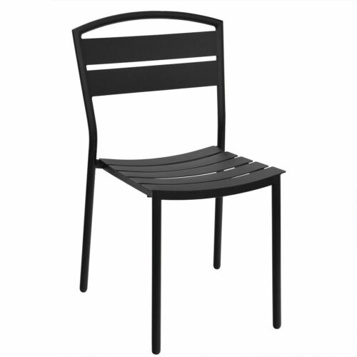New Lena Restaurant Black Steel Outdoor Side Chair