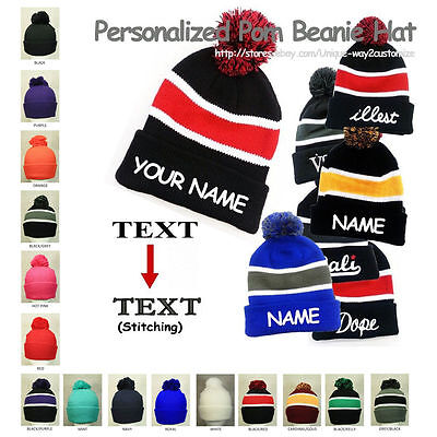 Personalized Customized Pom Ball Beanie Hat PERFECT CHRISTMAS GIFT **YOUR NAME**](Beanie Personalized)