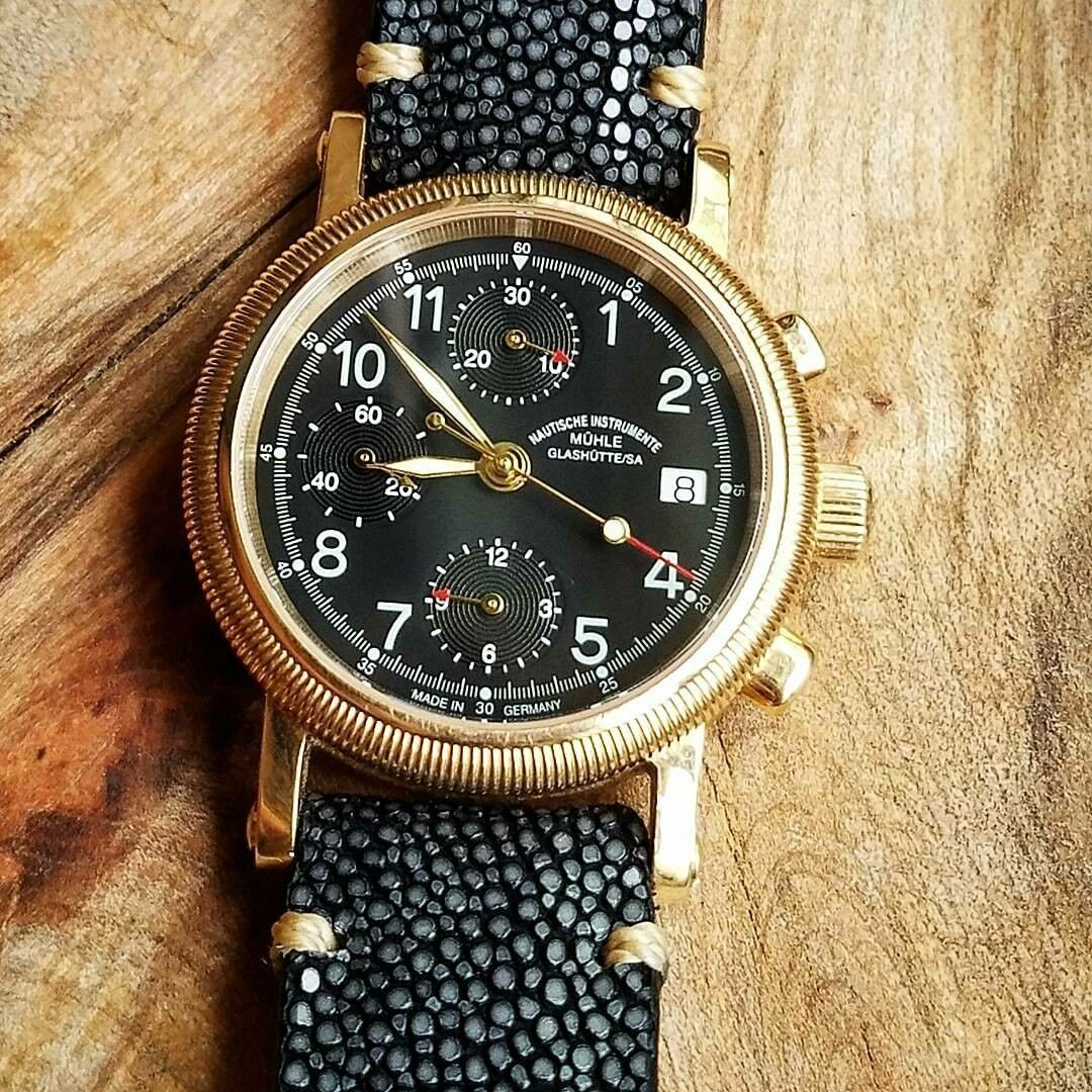 Muhle Glashutte 18k Rose Gold Chronograph M1-34-53BLK Watch (Rolex Pres. Weight) - watch picture 1