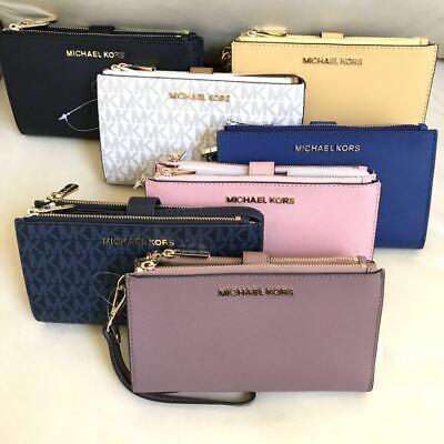 NEW Michael Kors Jet Set Double Zip Phone Case Wallet Wristlet Various Colors ()