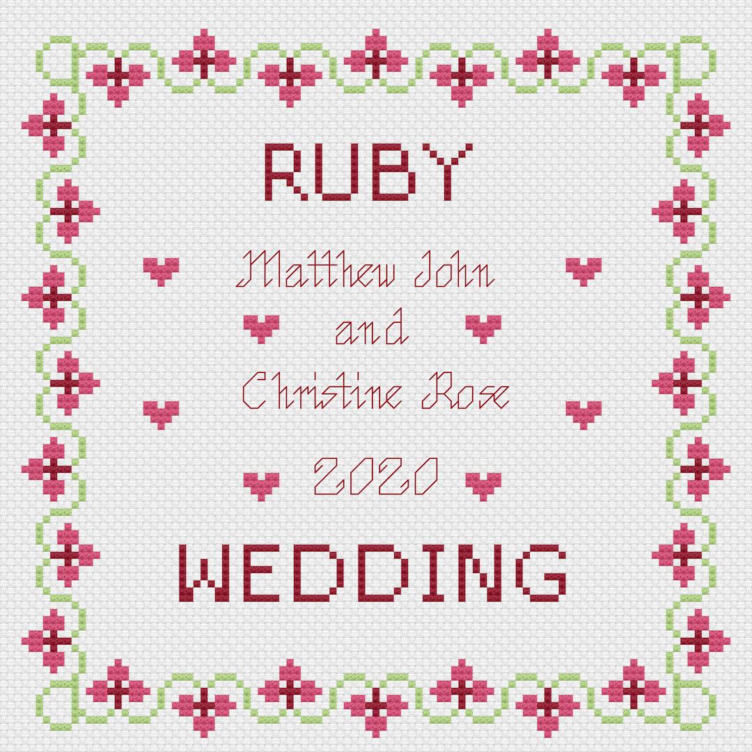 Ruby Wedding Anniversary Sampler Cross Stitch Kit Florashell