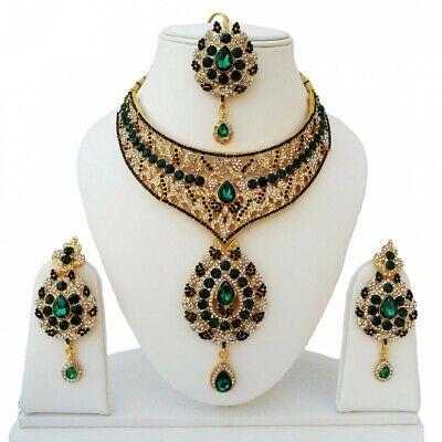 Indien Schmuck Theater Kostüm Grün Gold Bollywood Braut Tropfen Collier Tikka