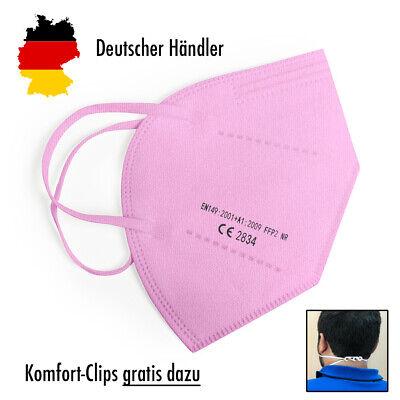 10x Hochwertige FFP2 Maske Mundschutz 5-lagig pink ✅ mit Ohren-Komfort-Clip
