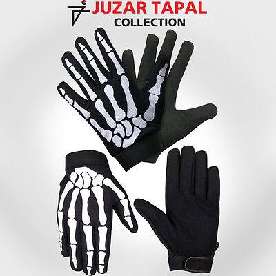 Black N White Motorcycle Biker Goth Mechanics Skeleton Gloves Skull bone JTC