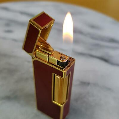 Dunhill Rollagas Lighter Bordeaux Wine red × Gold Ignition Working Used f/Japan