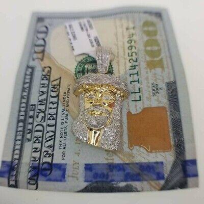 Genuine Diamond Iced Out Jesus Piece Pendant 1.25 Carats 10KT Yellow Gold  Iced Out Jesus Pendant