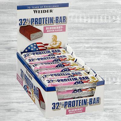 Weider 32% Protein Bar  24 x 60g Eiweiß Riegel  19,65 €/kg  auch Mix