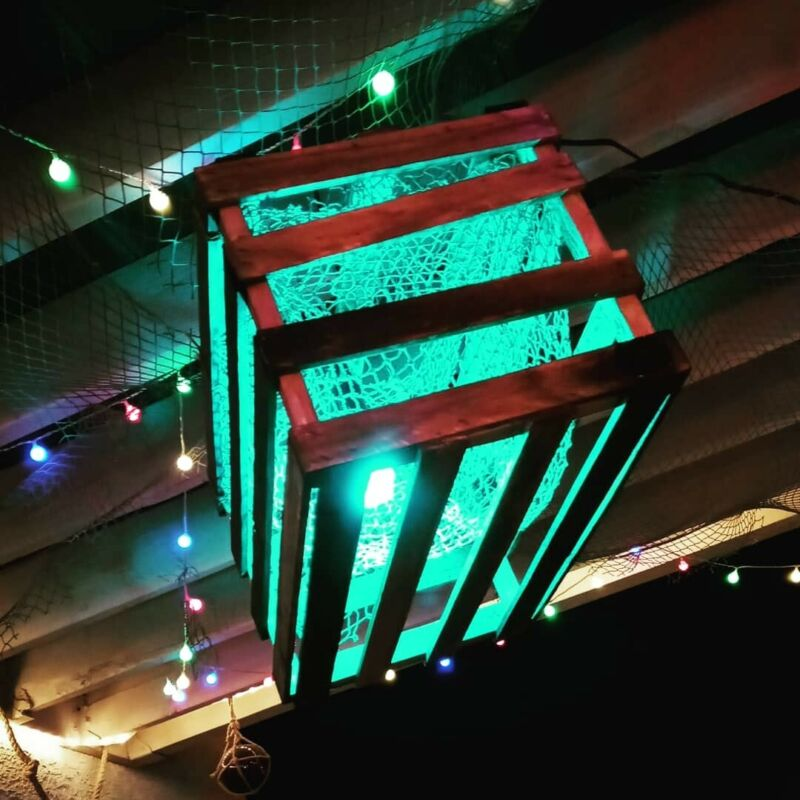 Tiki Bar Light Smart LED Bulb Aged Redwood Crate Trap Lamp Man Cave Nautical