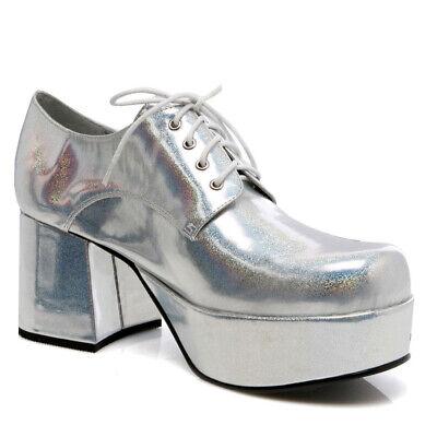 Ellie Shoes Disco 70er Jahre Gangster Tanz Halloween Kostüm Silber Absatz Schuhe