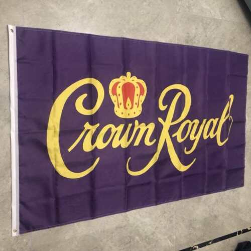 Crown Royal Whiskey Flag Banner 3x5 FT Purple Great For Man Cave Woman Cave Bar