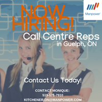 Excellent PERMANENT Call Centre Positions in Guelph - Immediate