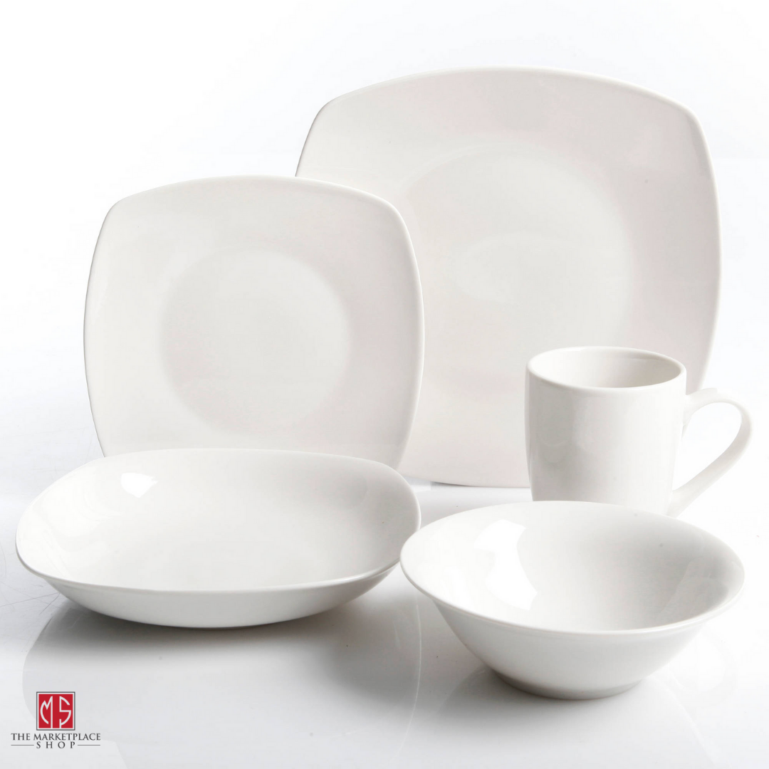 30-Piece Porcelain Dinnerware Set Square Dinner Plates Dish Service For 6 White 11