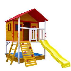 Large Elevated Wooden Cubby House with Slide Climbing Frame Fort East Perth Perth City Area Preview