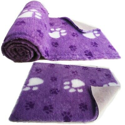 Purple Large White Paw  High Grade Vet Bedding Non-Slip back Bed Fleece for Pets