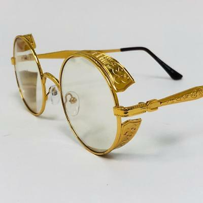 Fashion Metal Gold Round Buffs Designer Eyeglasses Oval Frame Clear Lens (Round Metal Glasses)