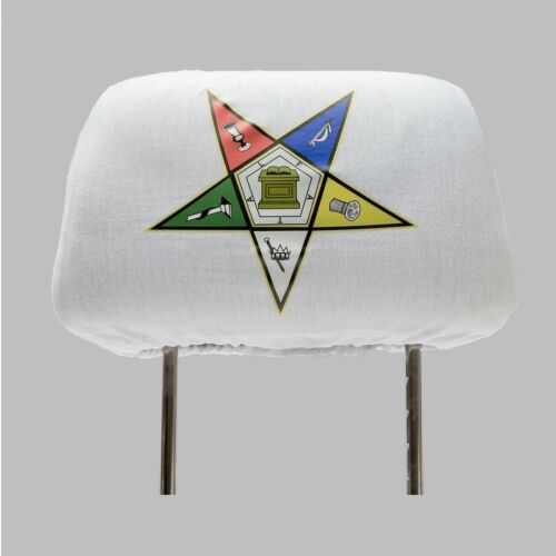 One OES Headrest Cover- White - Order of the Eastern Star