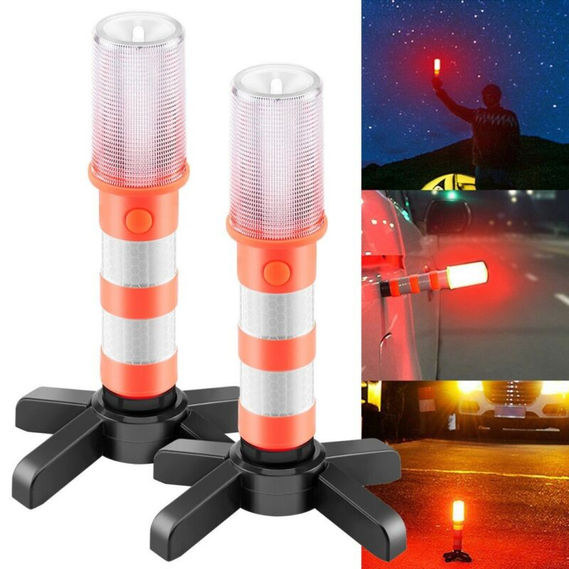 2 LED Emergency Road Flares Red Roadside Beacon Safety Strob