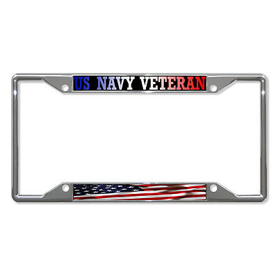 US NAVY VETERAN AMERICAN FLAG Metal License Plate Frame Tag Holder Four Holes - Flag Frames