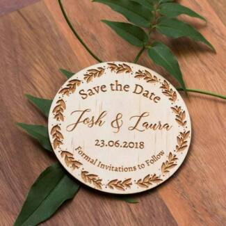 Personalised Wooden Engraved Save the Date Magnet