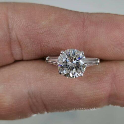 3.75Carat Round Cut Natural G si1 GIA platinum ring