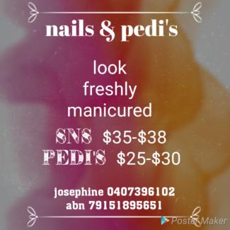 Sns nails and pedi's