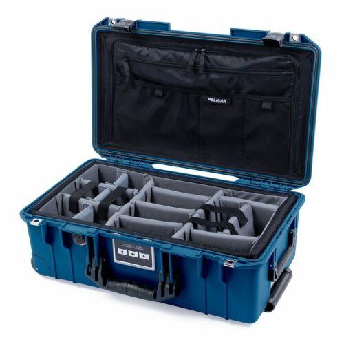 Indigo Blue & Black Pelican 1535 Air case with CVPKG dividers & combo lid pouch.