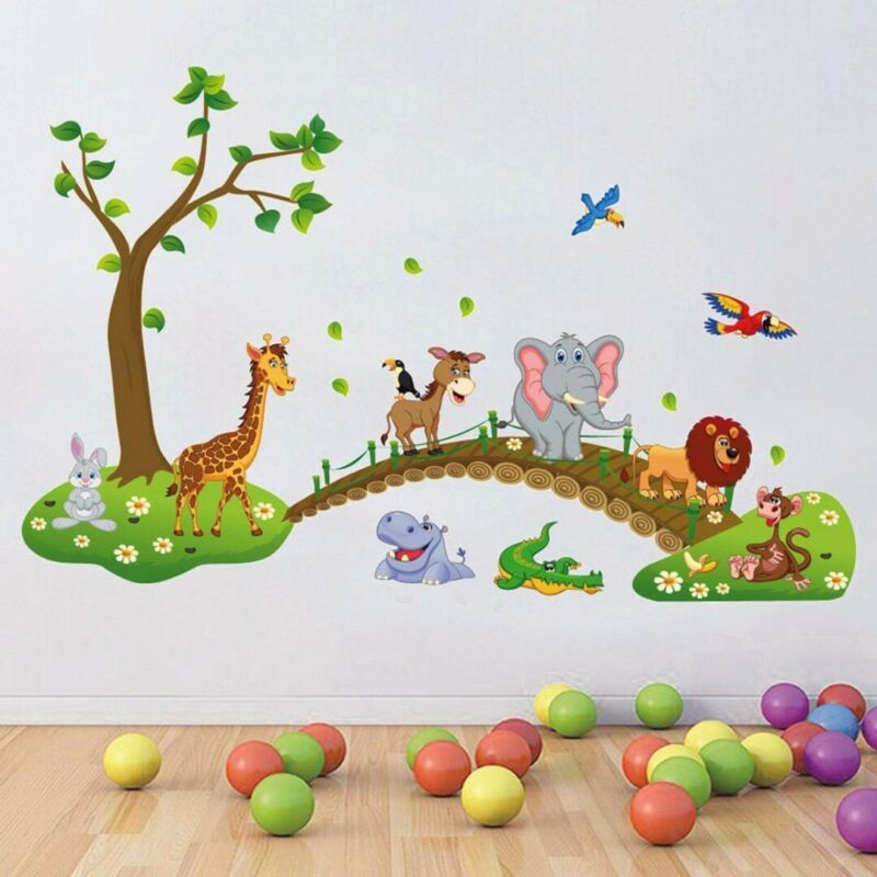 Home Decoration - Cartoon Animals Removable Decal Wall Stickers Baby Nursery Kids Room Home Decor