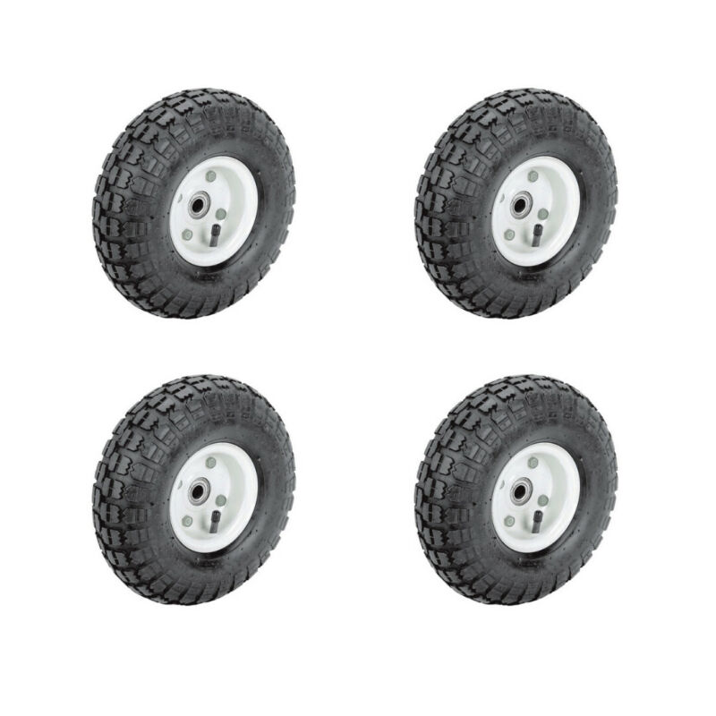 Set of Four(4) 10 In. Pneumatic Tire With White Hub Wagon Industrial Wheel New