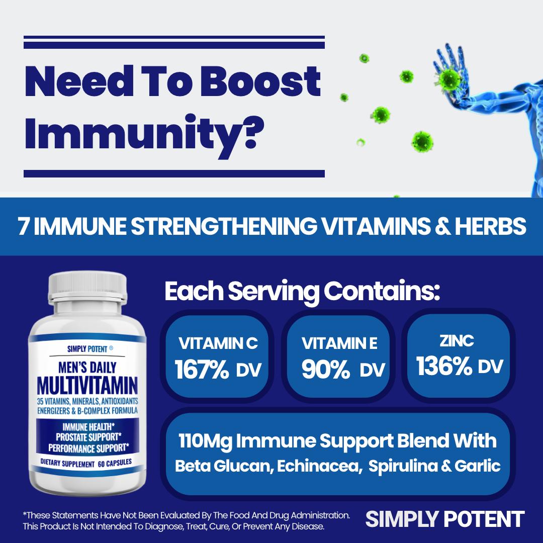 Men's Daily Multi vitamin A B C D E for Energy Focus Metabolism Immune Prostate  3