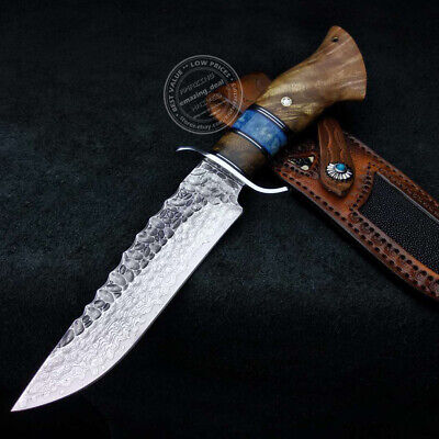 JAPANESE VG10 DAMASCUS HUNTING KNIFE SURVIVAL ART KNIFE BOWIE FIXED BLADE SHEATH