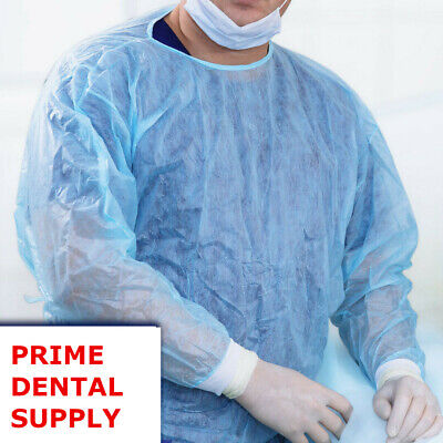 10 Pack Isolation Gown Medical Dental Blue With Knit Cuff S M L Xl