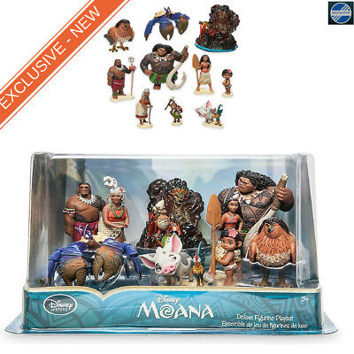 Disney Moana 10 Piece Figure Play Set Maui Hawk Pua Heihei Kakamora 4'' NEW
