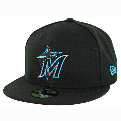New Era 59Fifty Miami Marlins GAME Fitted Hat (Black) Men's MLB Cap Mlb 59fifty Cap