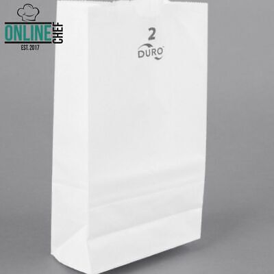 White Disposable Paper Grocery School Lunch Bags 500-Pack 2 Lbs Home Made in USA