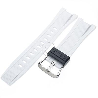 Genuine Casio White Rubber Watch Band Black Keeper Strap f/ G-Steel GST-210B-7A Steel White Rubber Watch