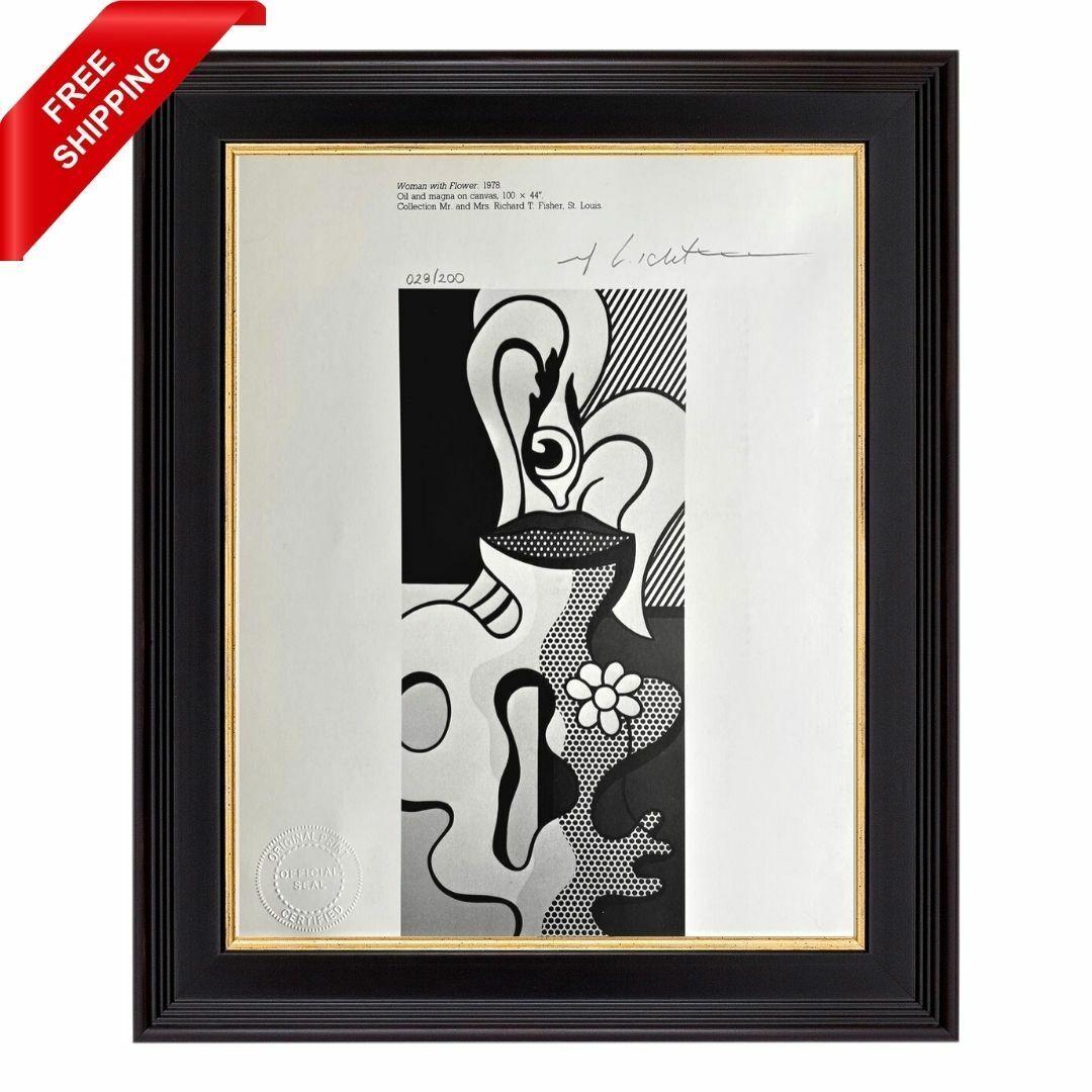 Roy Lichtenstein Original Signed Print With COA - Woman With Flower, 1978 - $53.00