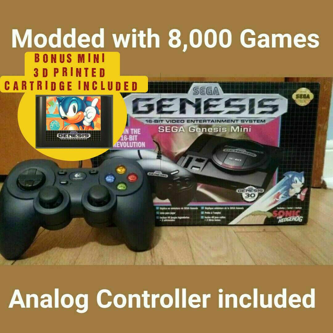 SEGA Genesis Mini Modded w/ 8,000 games tiny Cartridge & Analog Controller