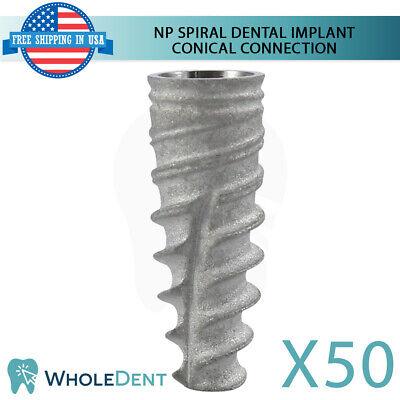 50x Dental Implant Np Conical Connection Hex Titanium Sterile Nobel Active Sla