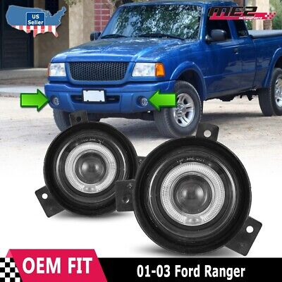 For Ford Ranger 01-03 Factory Replacement Halo Projector Fog Lights Clear Lens