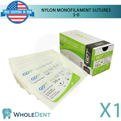 Atraumatic Nylon Surgical Suture Sewing Thread 38 Circle Reverse Sterile 5-0
