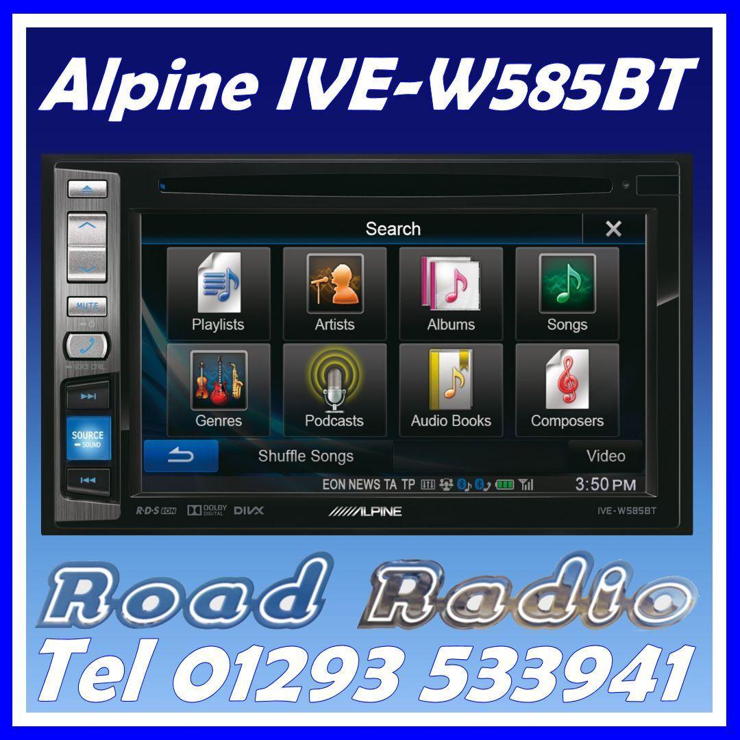 alpine ive w585bt double din car headunit stereo dvd cd usb bluetooth iphone ebay. Black Bedroom Furniture Sets. Home Design Ideas