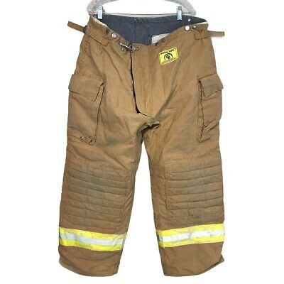 42x30 Morning Pride Brown Firefighter Turnout Bunker Pants Yellow Reflect P1204