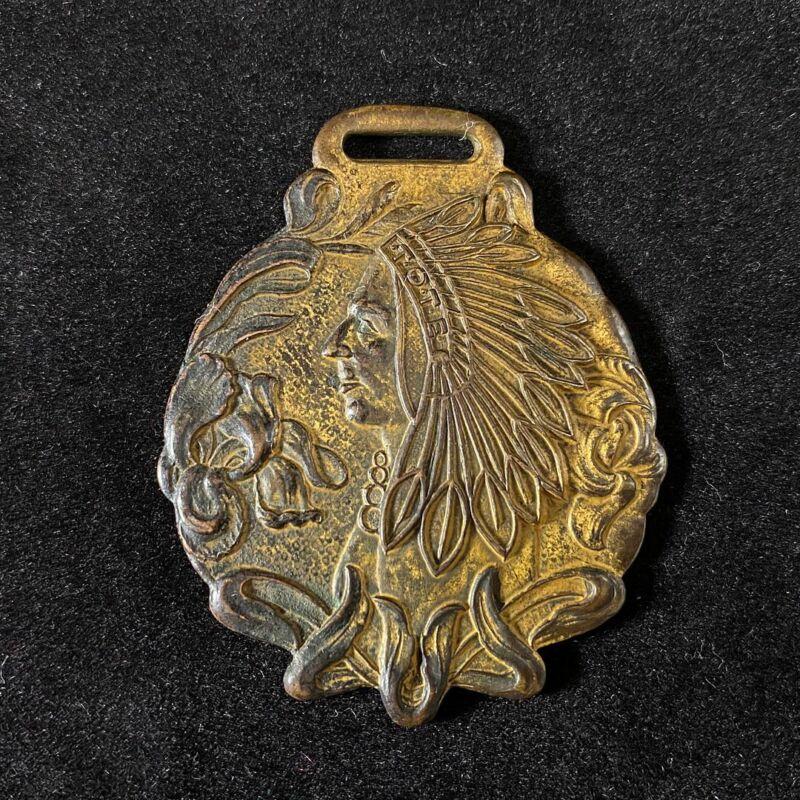 Vintage Pocket Watch Fob Art Nouveau American Indian Beautiful Art Work