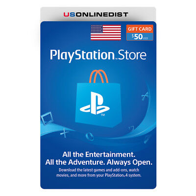 Sony Playstation Network $50 USD Be open - PSN 50 Dollar - PS4 PS3 PSP USA Only