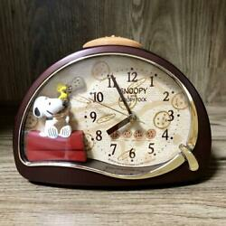 Snoopy alarm clock WOOD STOCK table clock Mint