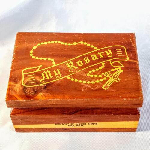 Vintage MY ROSARY Wood Box ~ Our Lady of Woods Shrine ~ FREE SHIPPING