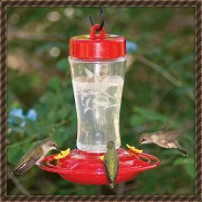 HOMESTEAD ETCHED HARDENED GLASS HUMMINGBIRD FEEDER   EASY CLEAN