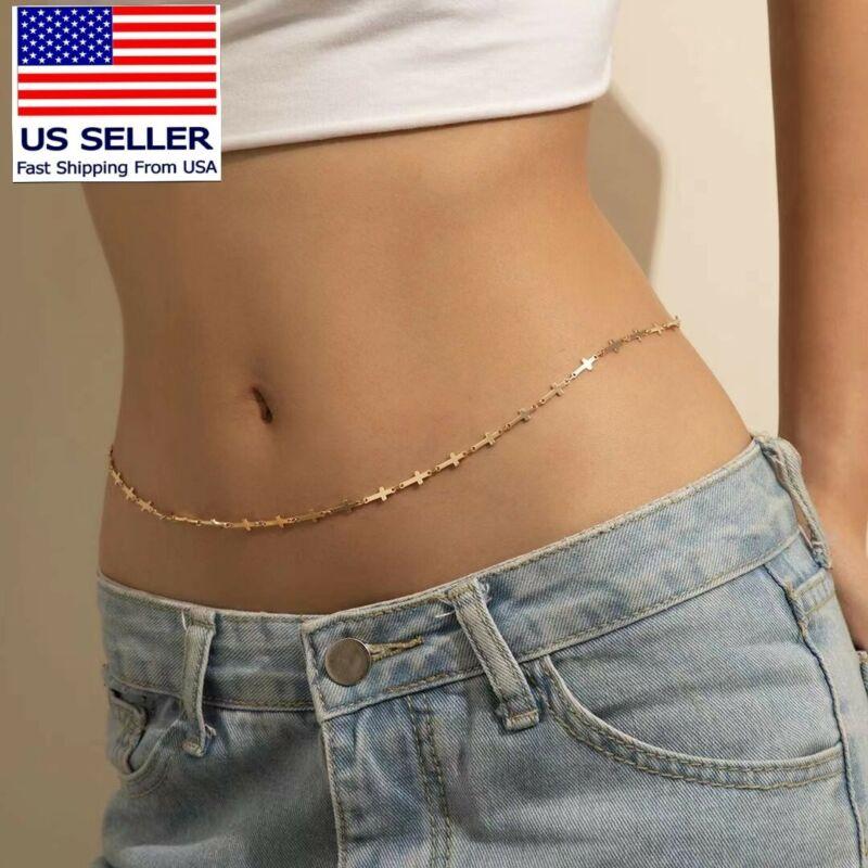 Waist Chain Cross Style Body Belly Fashion adjustable Chain Gold Women