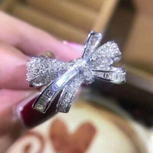 V Day Gift Choice: 18K Gold 1ctw Natural Diamonds Bow Ring